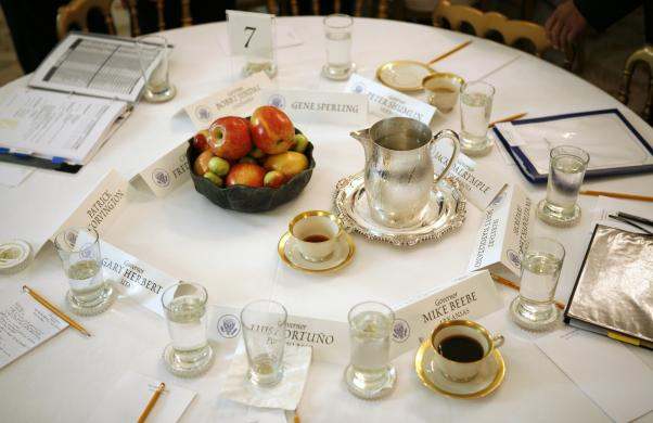 A table in the State Dining Room is seen at the White House in Washington